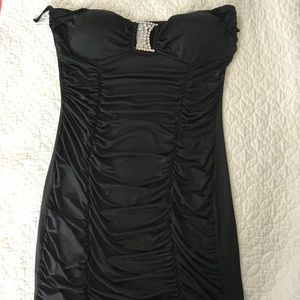 Bodycon Black Strapless Mini Party Dress Size L